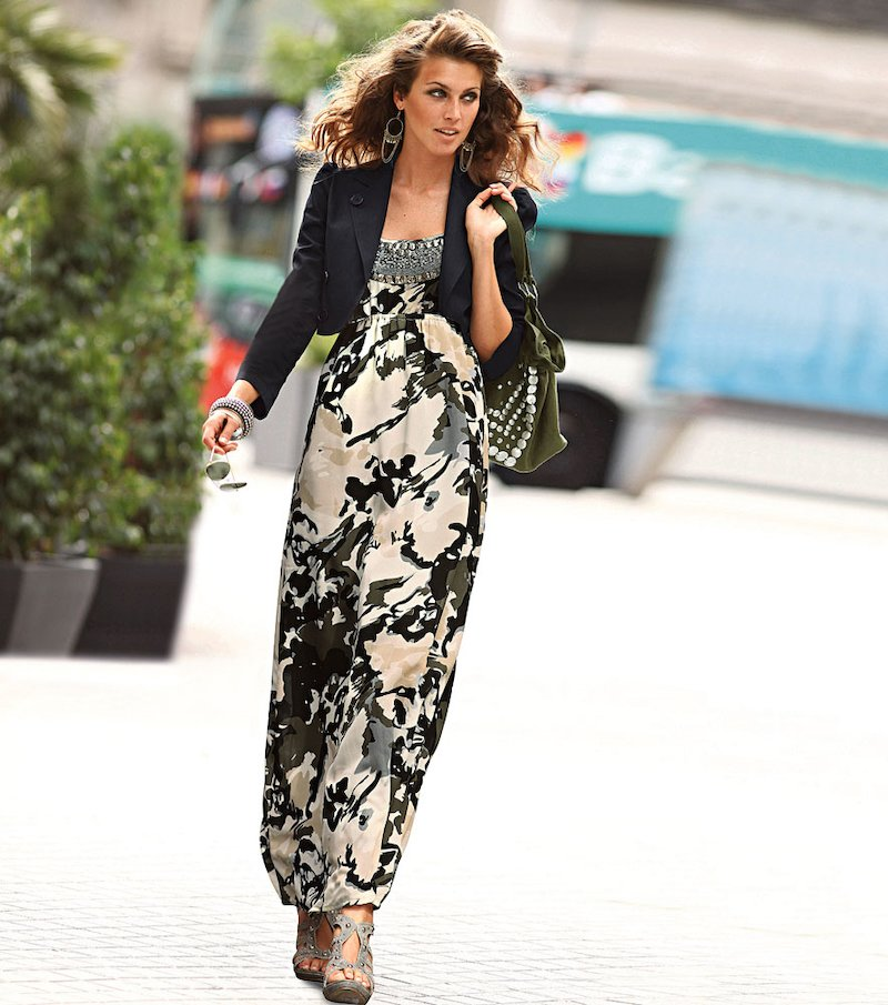 Vestido largo mujer de tirantes con abalorios