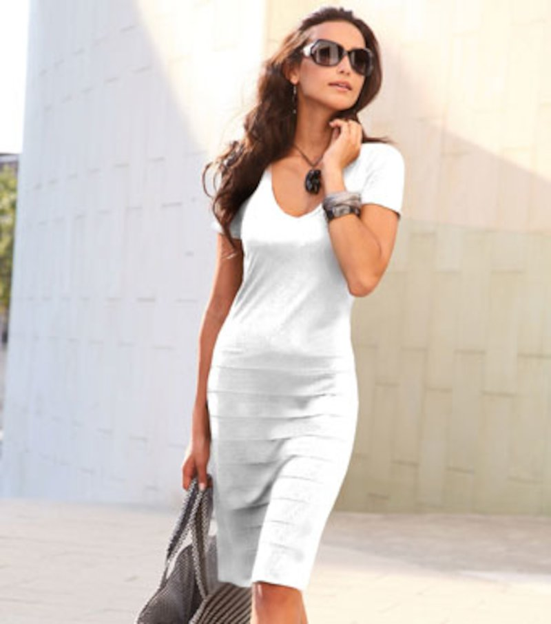 Vestido mujer manga corta de punto con volantes