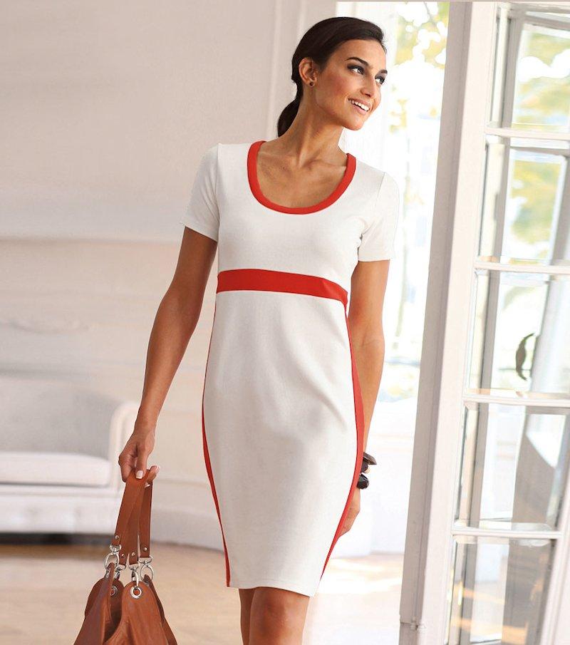 Vestido mujer manga corta de punto elástico