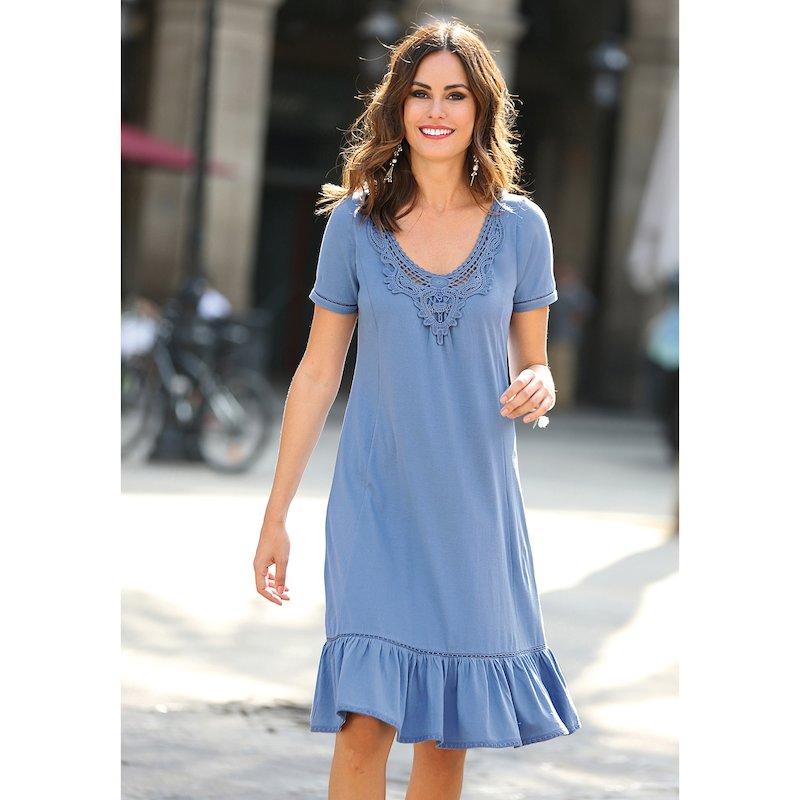 Vestido de punto liso con pieza de guipur - Azul