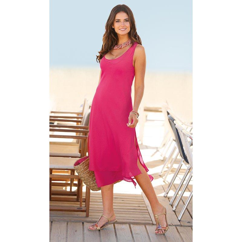 Vestido liso de mujer con 2 capas aberturas laterales