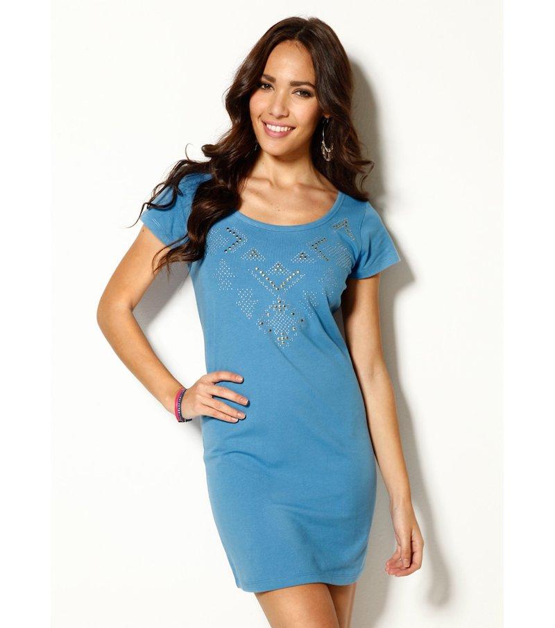Vestido mujer manga corta punto elástico étnico - Azul