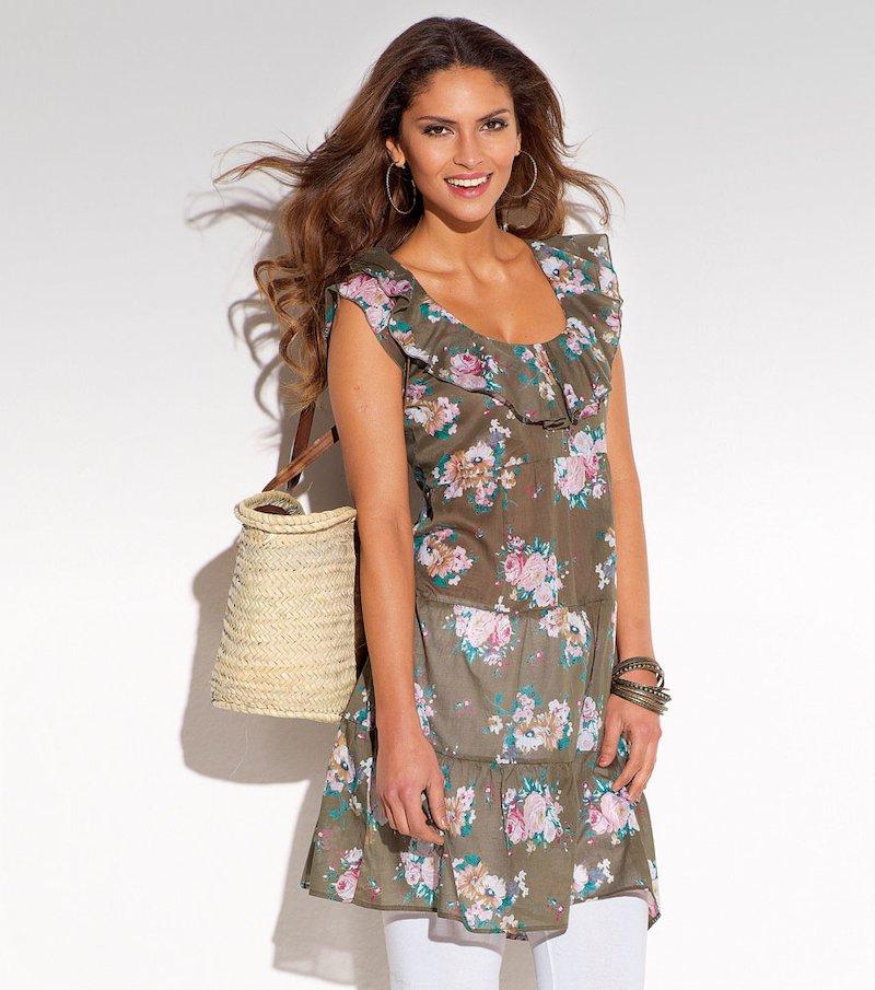 Vestido túnica mujer sin mangas con volantes