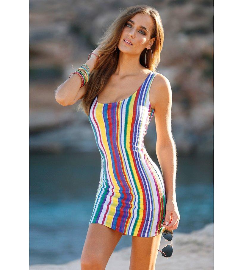 Vestido de tirantes mujer punto rayas