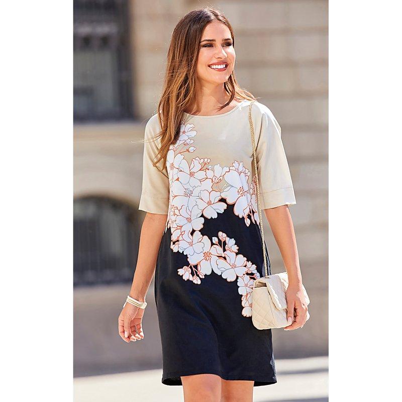 Vestido de mujer con estampado floral - Crudo