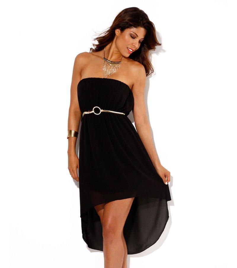 Vestido mujer palabra de honor negro