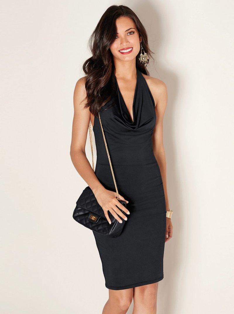 Vestido sexy mujer de punto elástico con drapeado - Negro