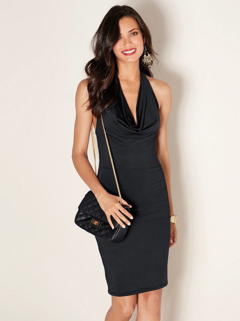 Vestido sexy mujer de punto elástico con drapeado