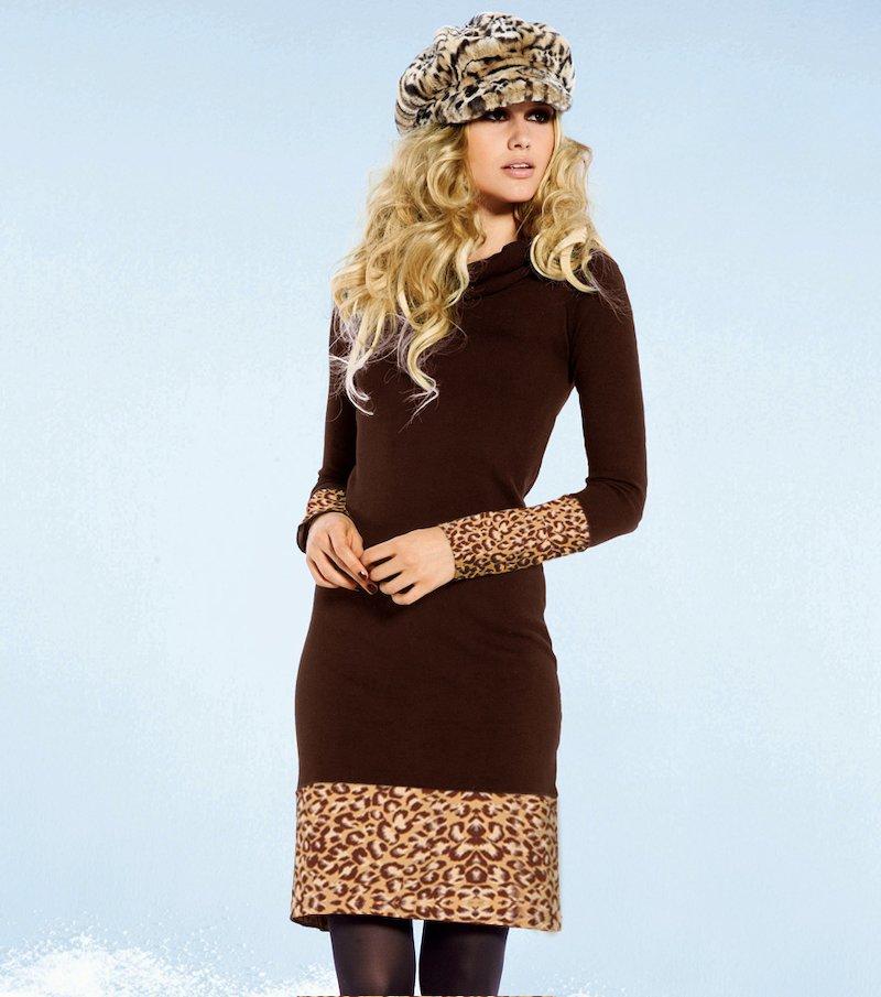 Vestido mujer manga larga estampado leopardo - Marrón