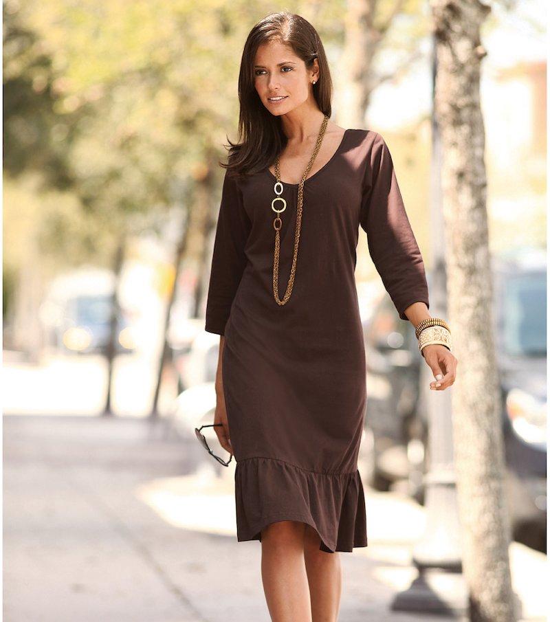 Vestido mujer manga 3/4 de punto 100% algodón