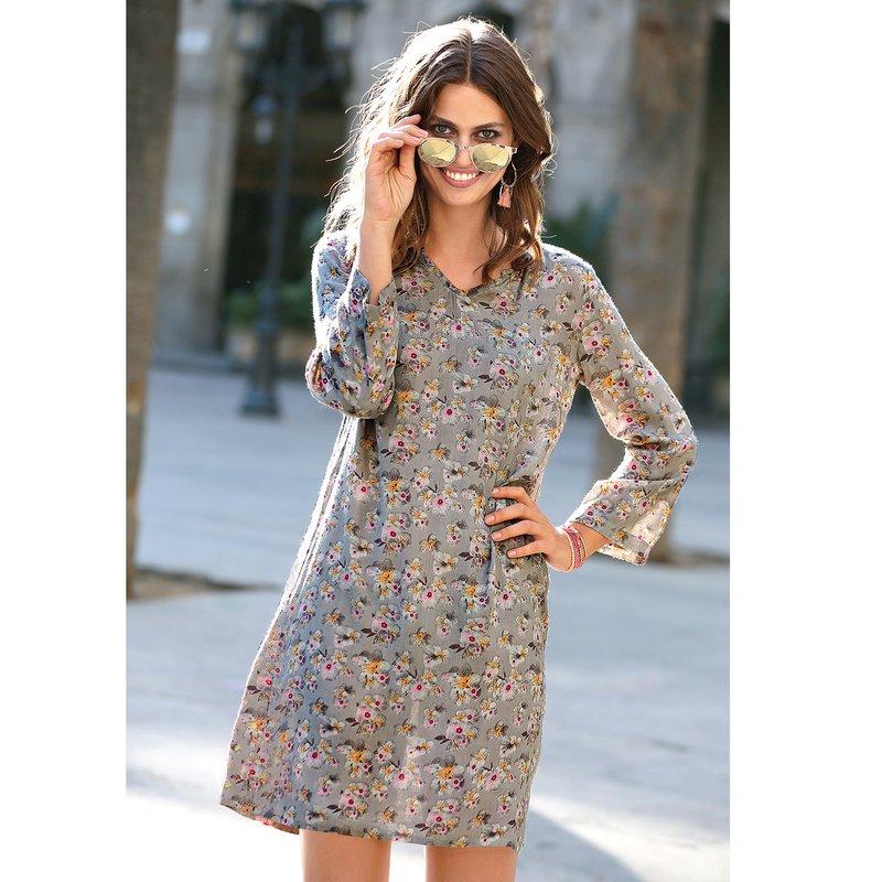 Vestido estampado floral escote caftán manga 3/4 - Gris