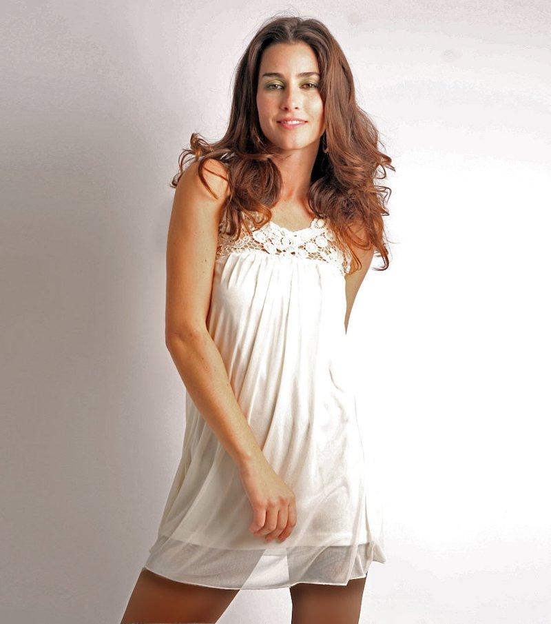 Vestido mujer de fiesta sin mangas con pasamanería