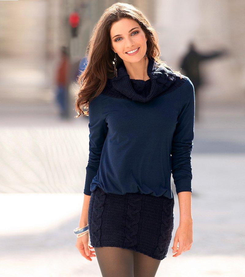Vestido mujer manga larga cuello vuelto tricot