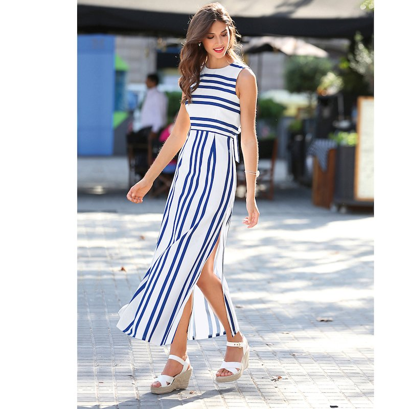 Vestido largo sin mangas mujer de rayas