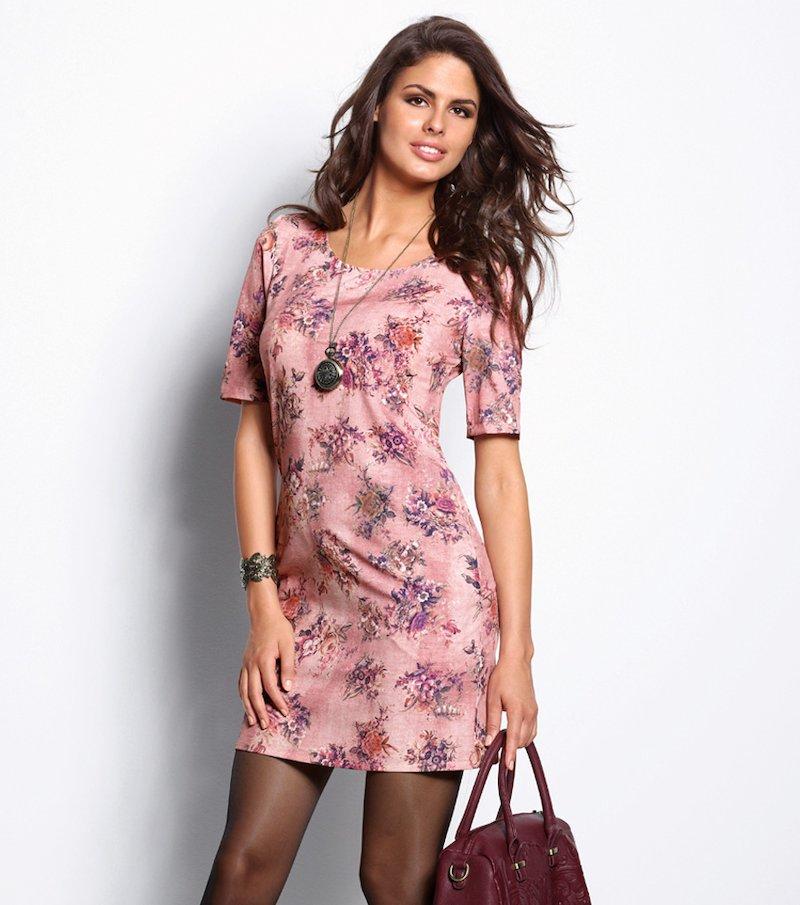 Vestido túnica mujer manga corta flores