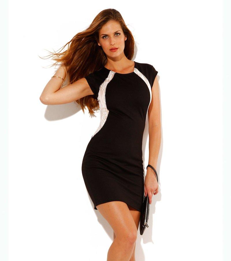 Vestido de fiesta mujer sin mangas encaje y punto