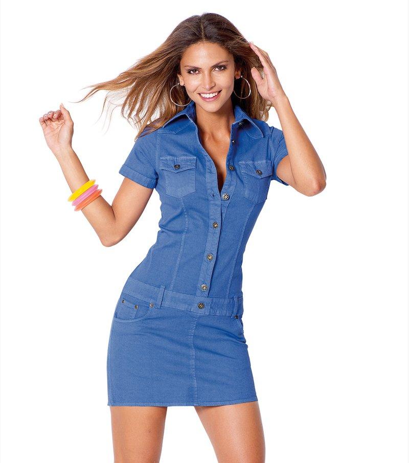 Vestido mujer de manga corta elástico