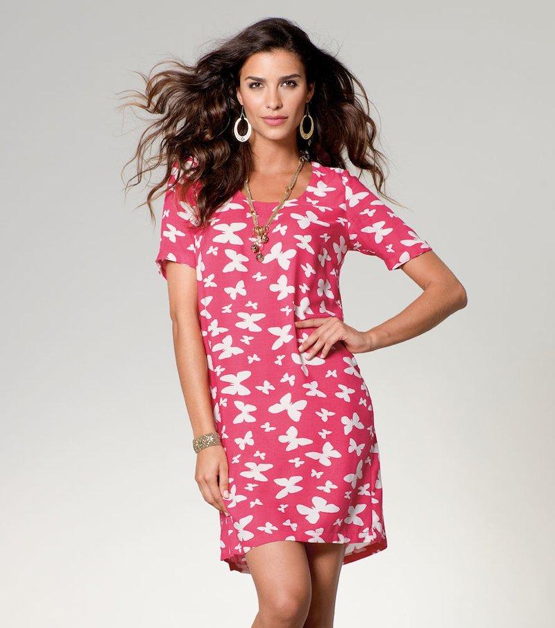 Vestido mujer manga corta con cinturón - Rosa