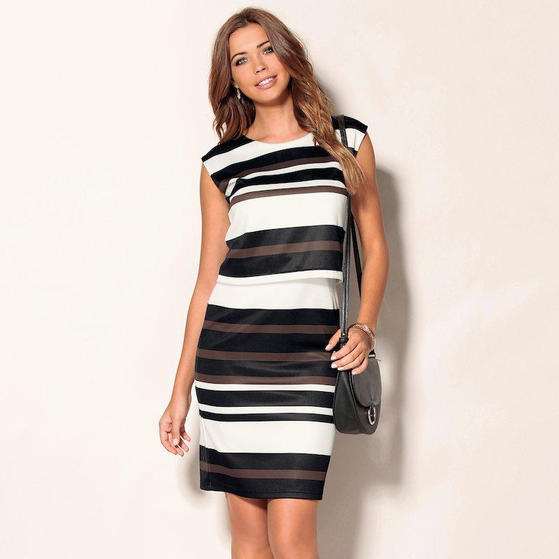 Vestido mujer de efecto 2 piezas estampado rayas
