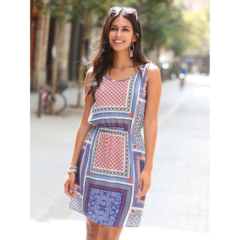 Vestido de mujer con estampado patchwork sin mangas