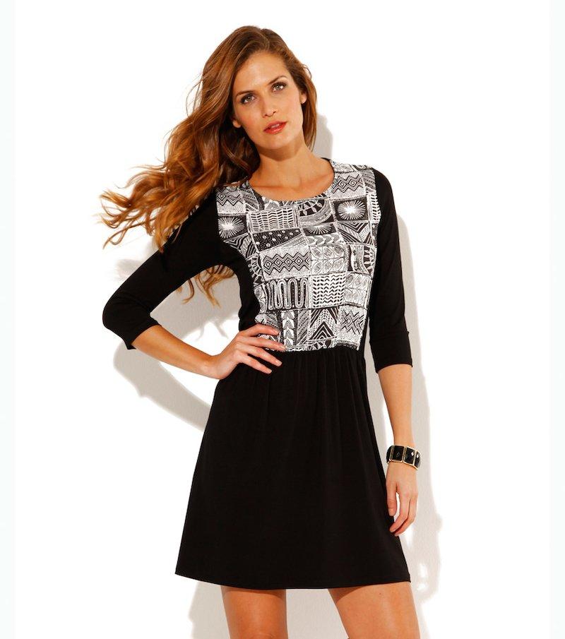 Vestido mujer manga 3/4 punto liso - Negro