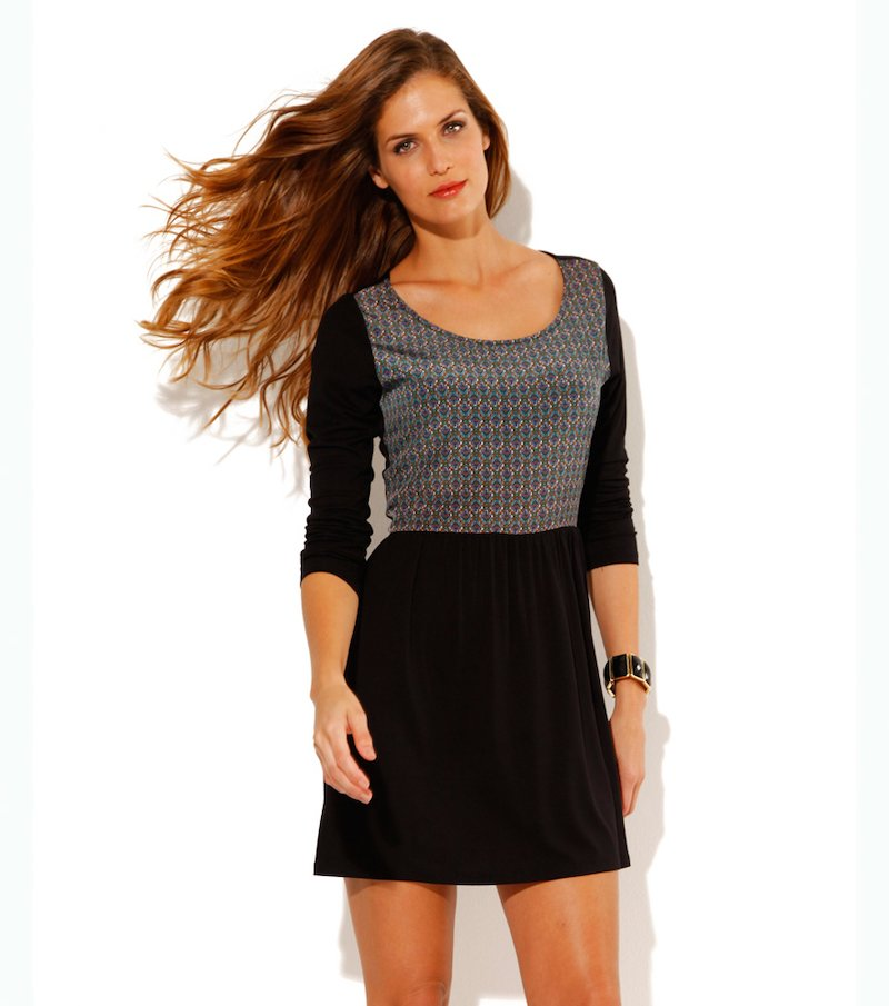 Vestido mujer manga larga punto liso - Negro