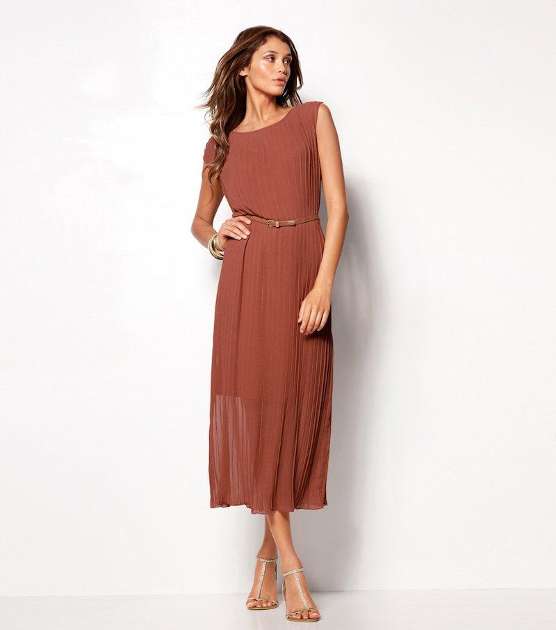 Vestido largo mujer mini manga plisado crepe