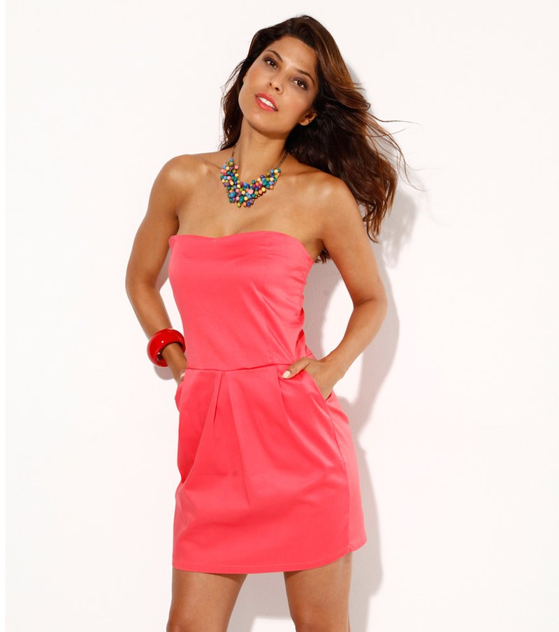 Vestido mujer palabra de honor coral