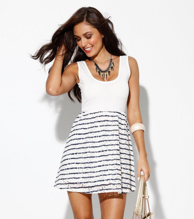 Vestido mujer tirantes rayas - Blanco