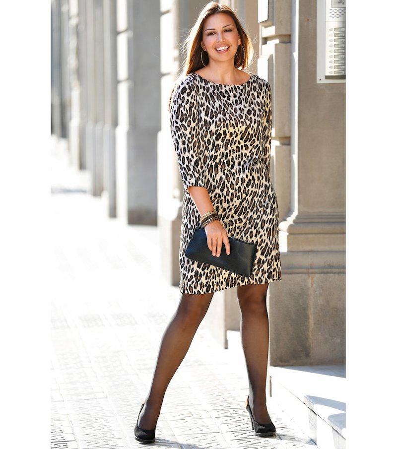 Vestido mujer manga 3/4 estampado satén