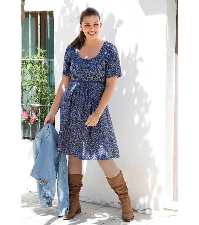 Vestido mujer estampado con encaje - Azul