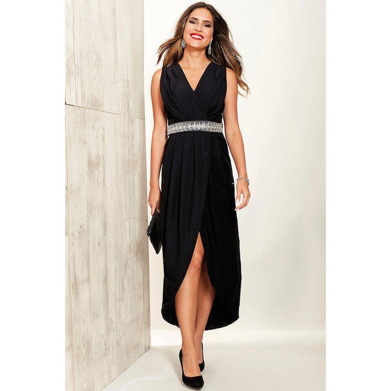 Vestido de fiesta mujer con banda de pedrería - Negro