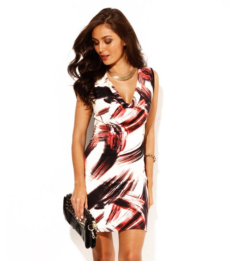 Vestido mujer sin mangas estampado punto elástico