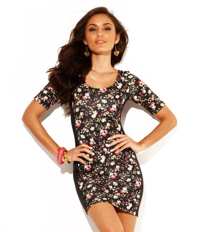 Vestido mujer manga corta flores punto elástico - Negro