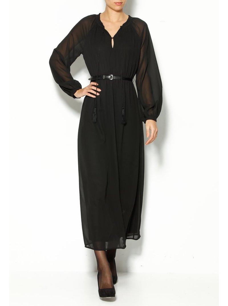 Vestido largo con cinturón mujer