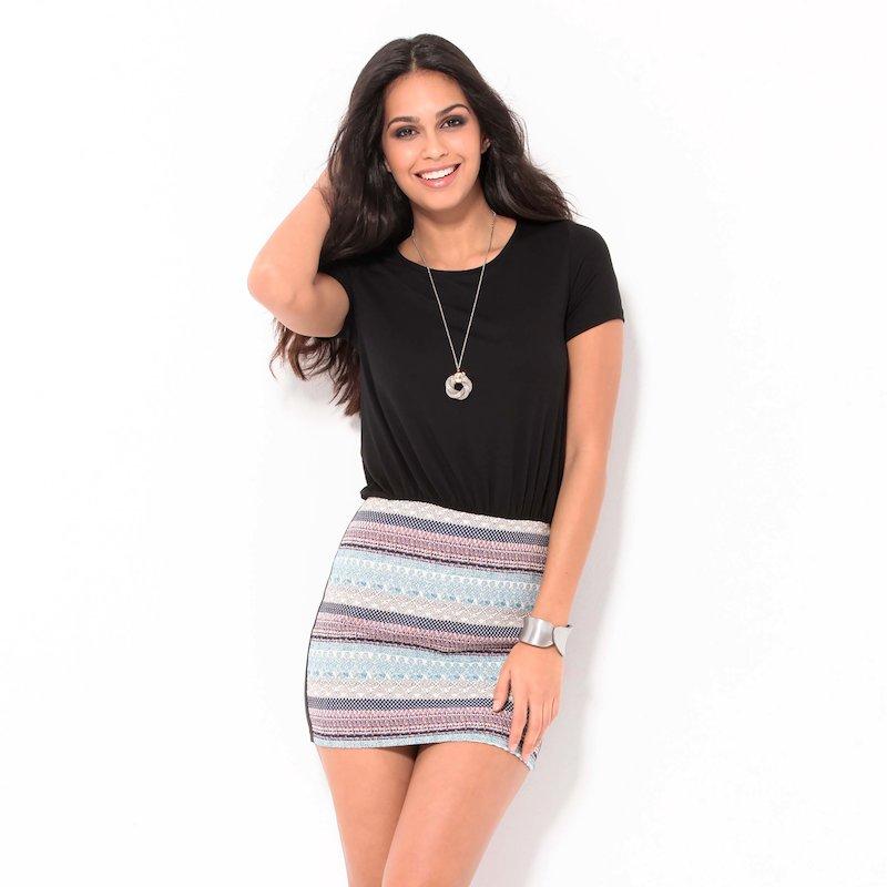 Vestido mujer manga corta con falda étnica punto