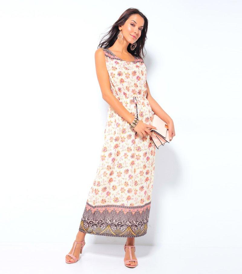 Vestido largo mujer sin mangas estampado