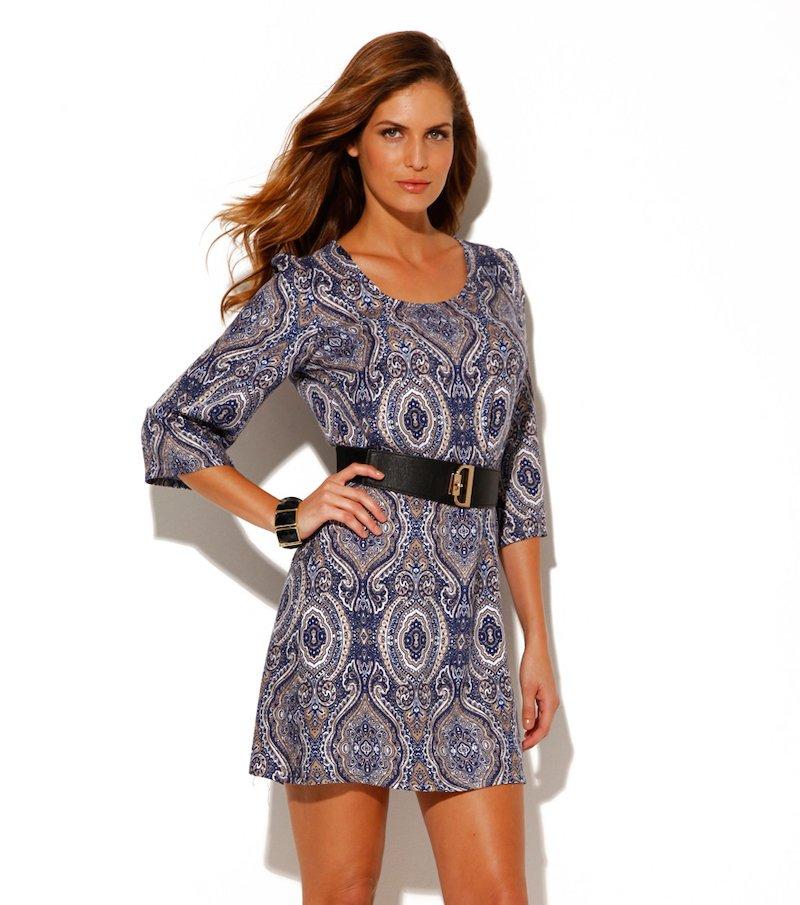 Vestido mujer manga 3/4 estampado azul