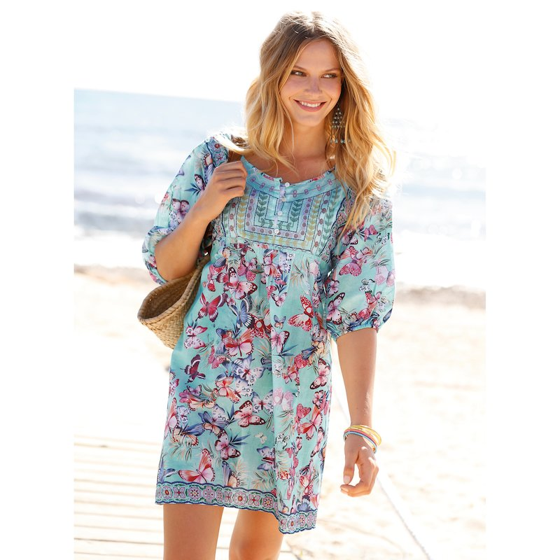 Vestido túnica mariposas y pechera a contraste
