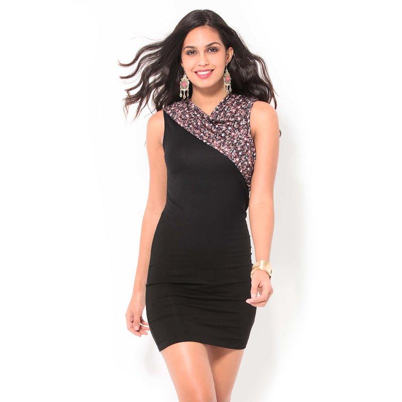 Vestido mujer sin mangas con piezas estampadas - Negro