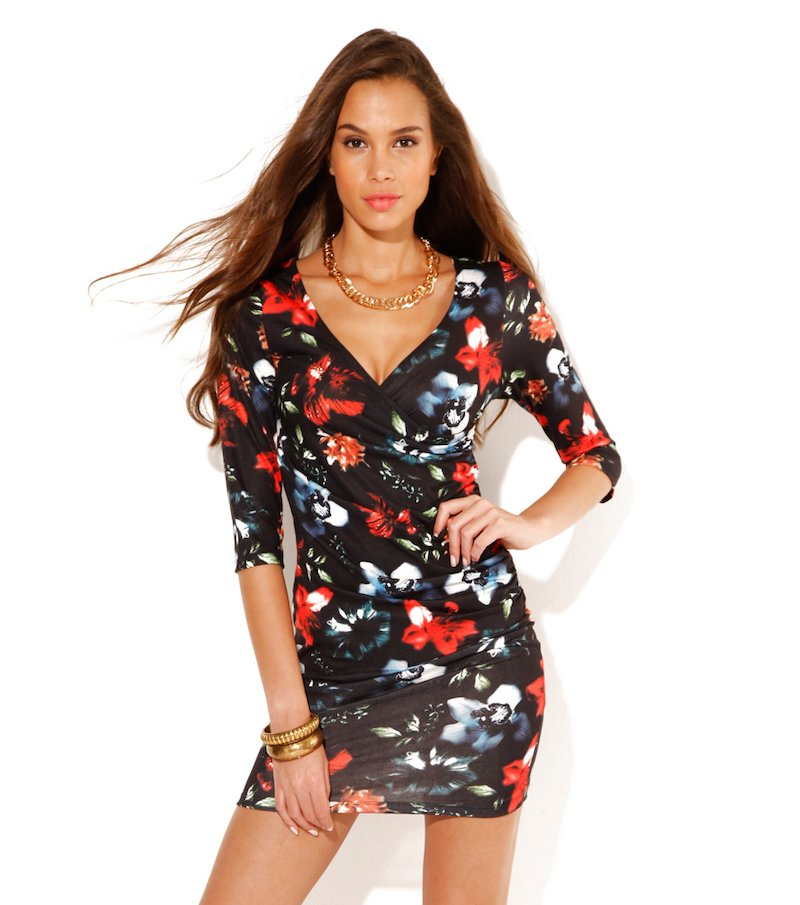 Vestido mujer manga 3/4 estampado punto flores