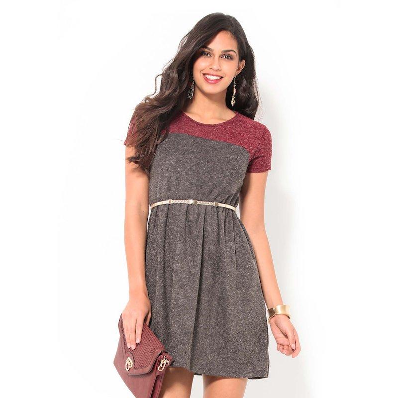 Vestido mujer manga corta tricot bicolor