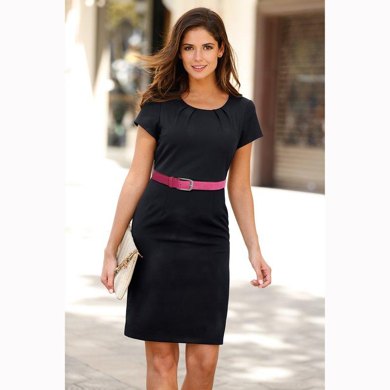 Vestido elegante mujer manga corta tejido elástico