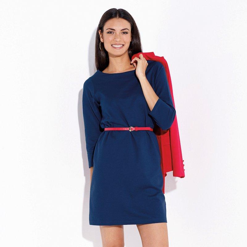 Vestido mujer felpa manga 3/4 abertura en la espalda - Azul