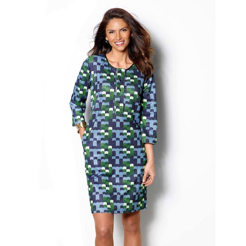 Vestido mujer manga 3/4 estampado geométrico
