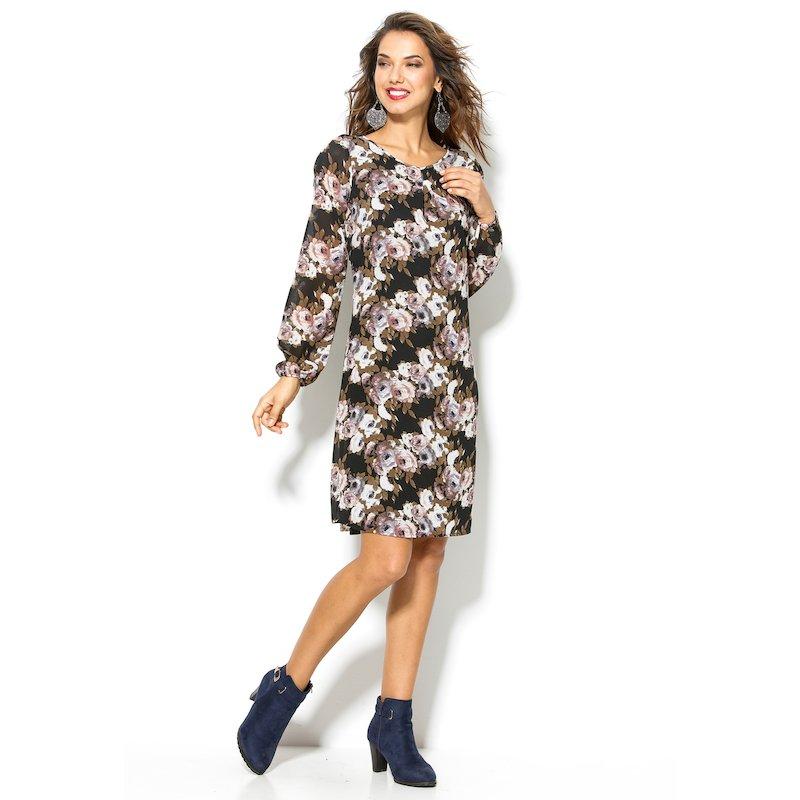 Vestido manga corta con estampado de flores