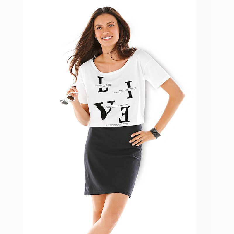 Conjunto 2 piezas vestido y camiseta mujer de algodón