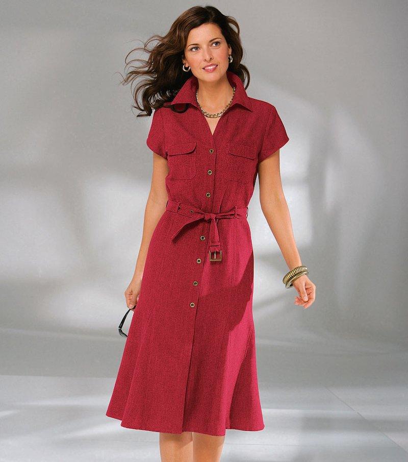 Vestido camisero mujer manga corta