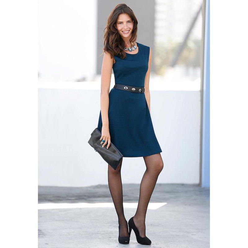 Vestido mujer sin mangas punto milano elástico