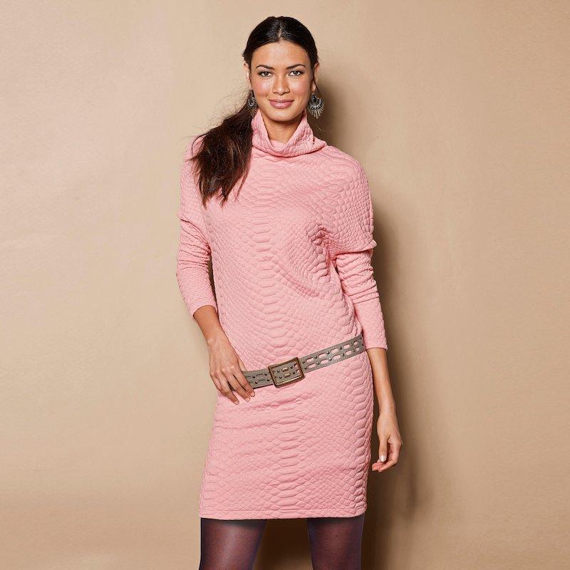 Vestido manga larga punto flocado - Rosa